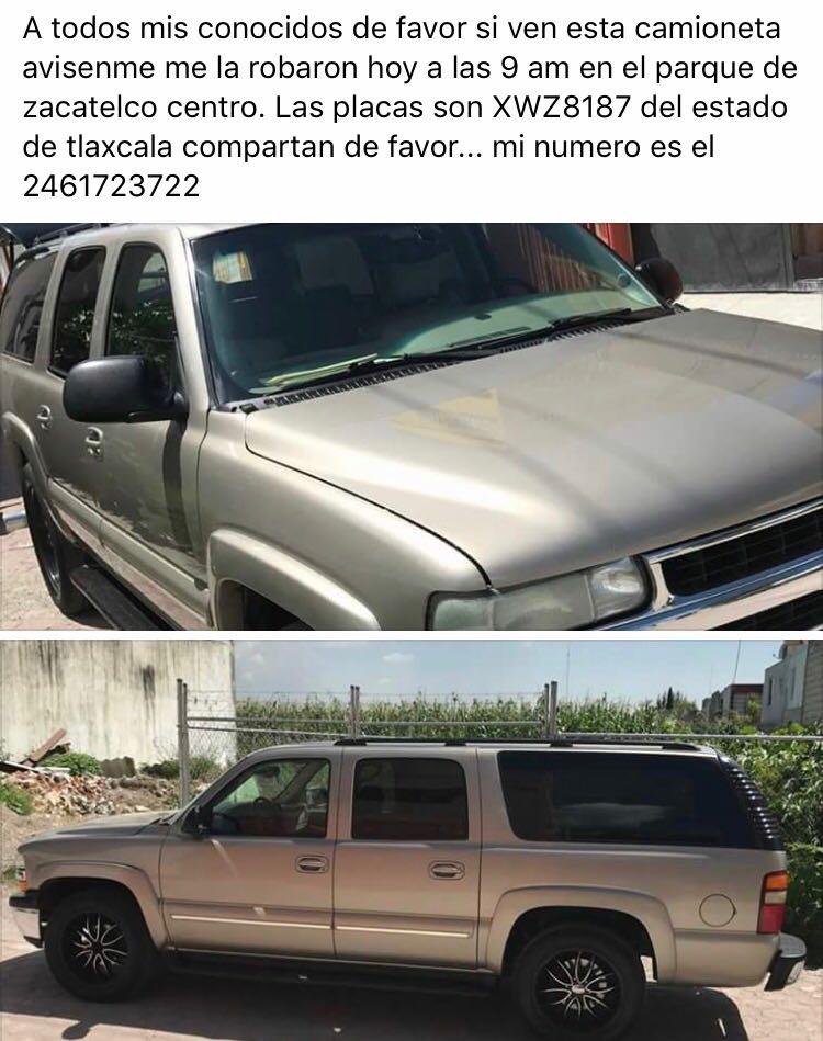 Reportan robo de camioneta en el centro de Zacatelco