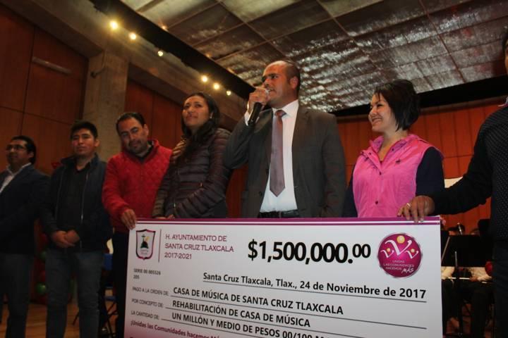 Alcalde de Santa Cruz Tlaxcala destinará 1.5 mdp para Casa de Música