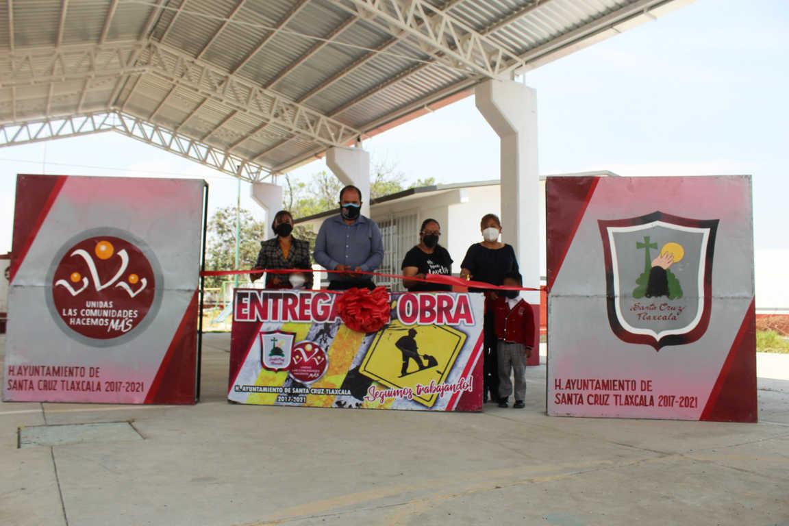 Sanabria Chávez cumple un compromiso MÁS: entrega la quinta techumbre en Santa Cruz Tlaxcala