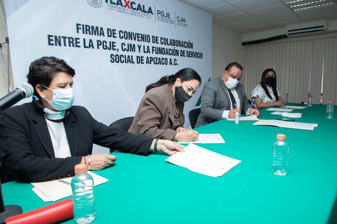 PGJE signa convenio de colaboración con la fundación de servicio social de Apizaco A.C.