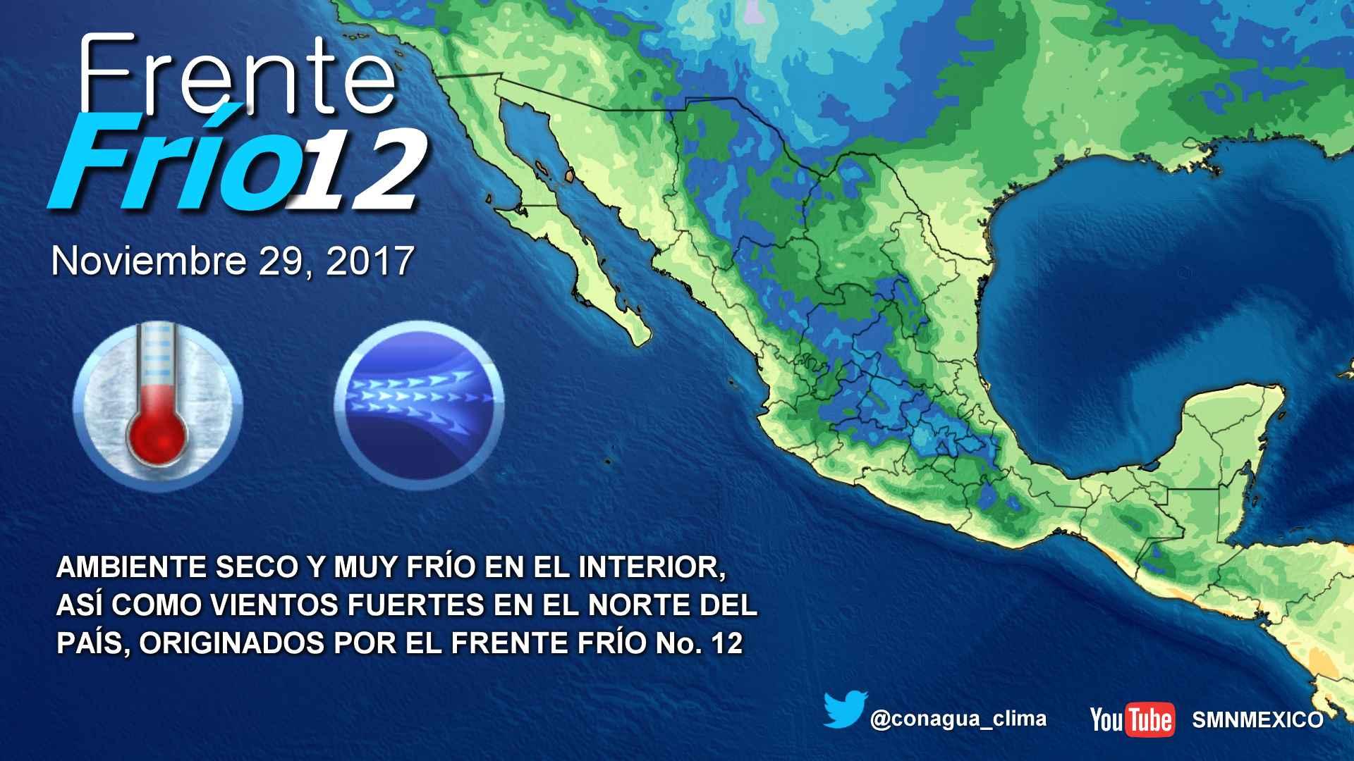 Esta noche se pronostica ambiente muy frío en el norte, el centro y el oriente de México