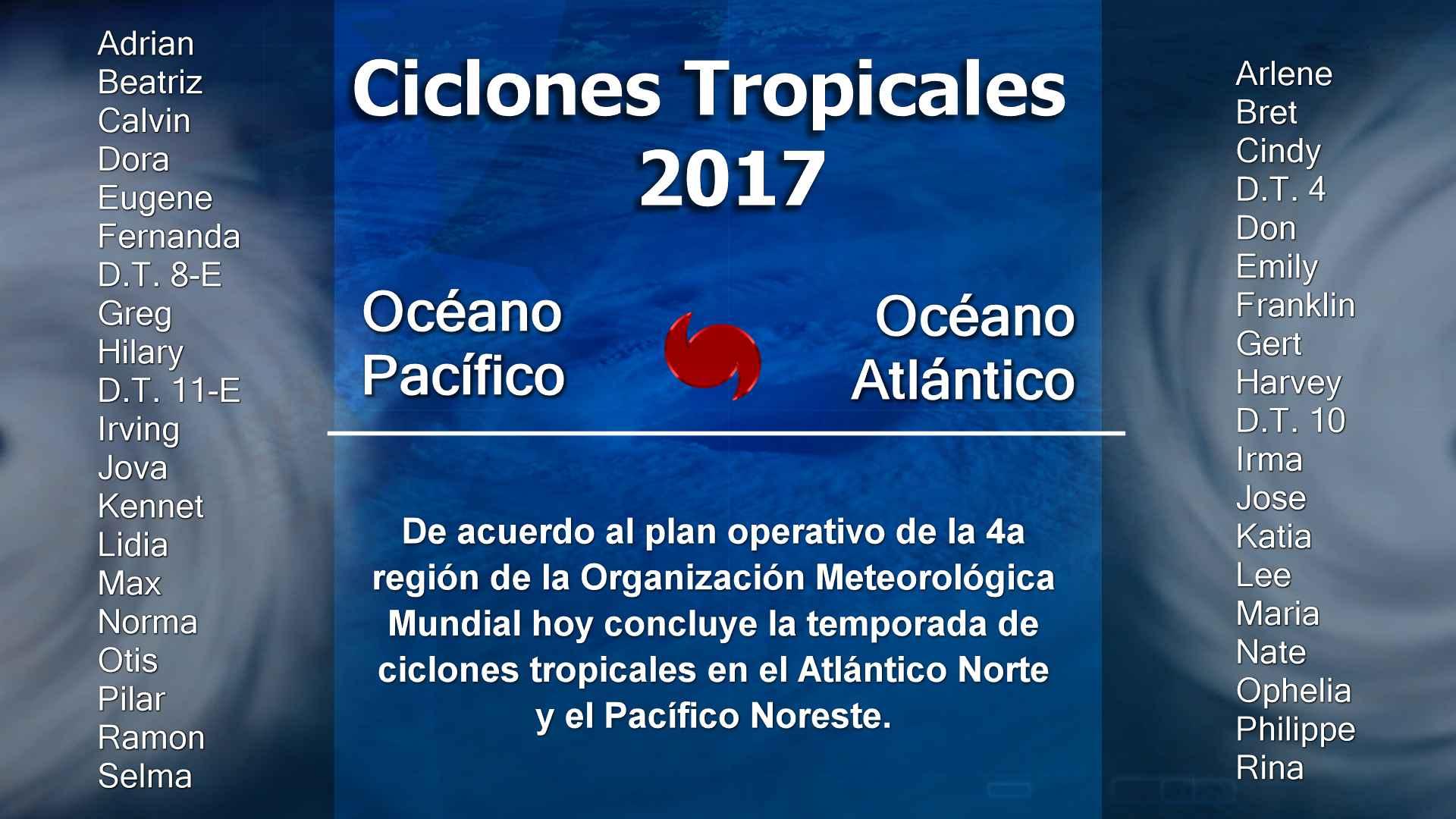 Concluye hoy la Temporada de Ciclones Tropicales 2017