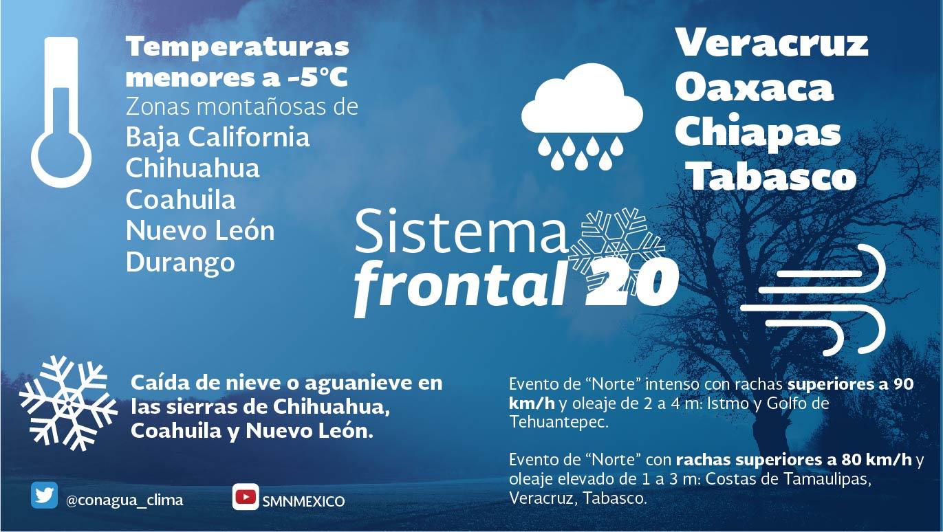 Continuará el ambiente de frío a muy frío en el noreste, el oriente y el centro de México