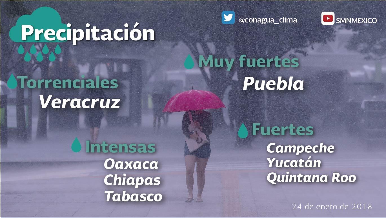 Durante la noche de hoy se prevén nublados densos con tormentas torrenciales en Veracruz