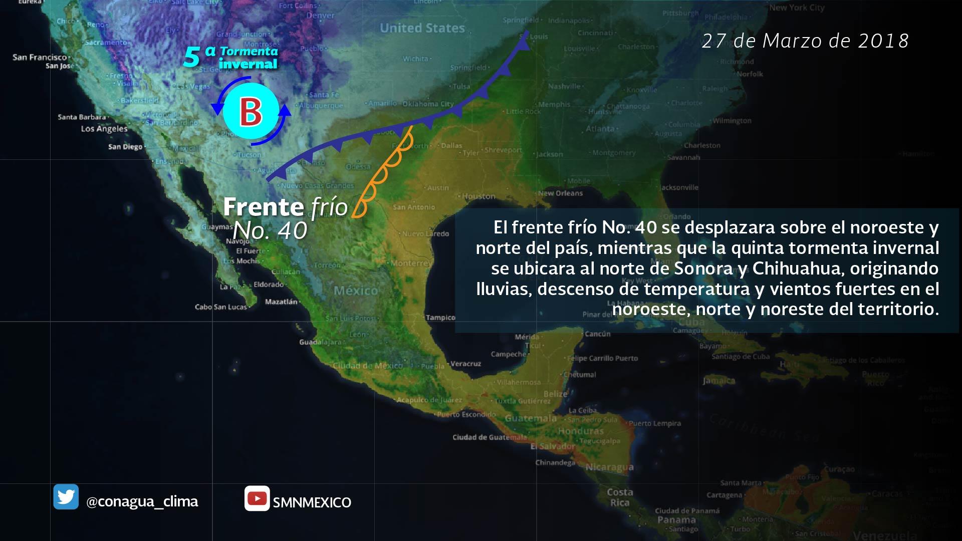 Se prevén lluvias, descenso de temperatura y vientos en el noroeste, el norte y el noreste de México