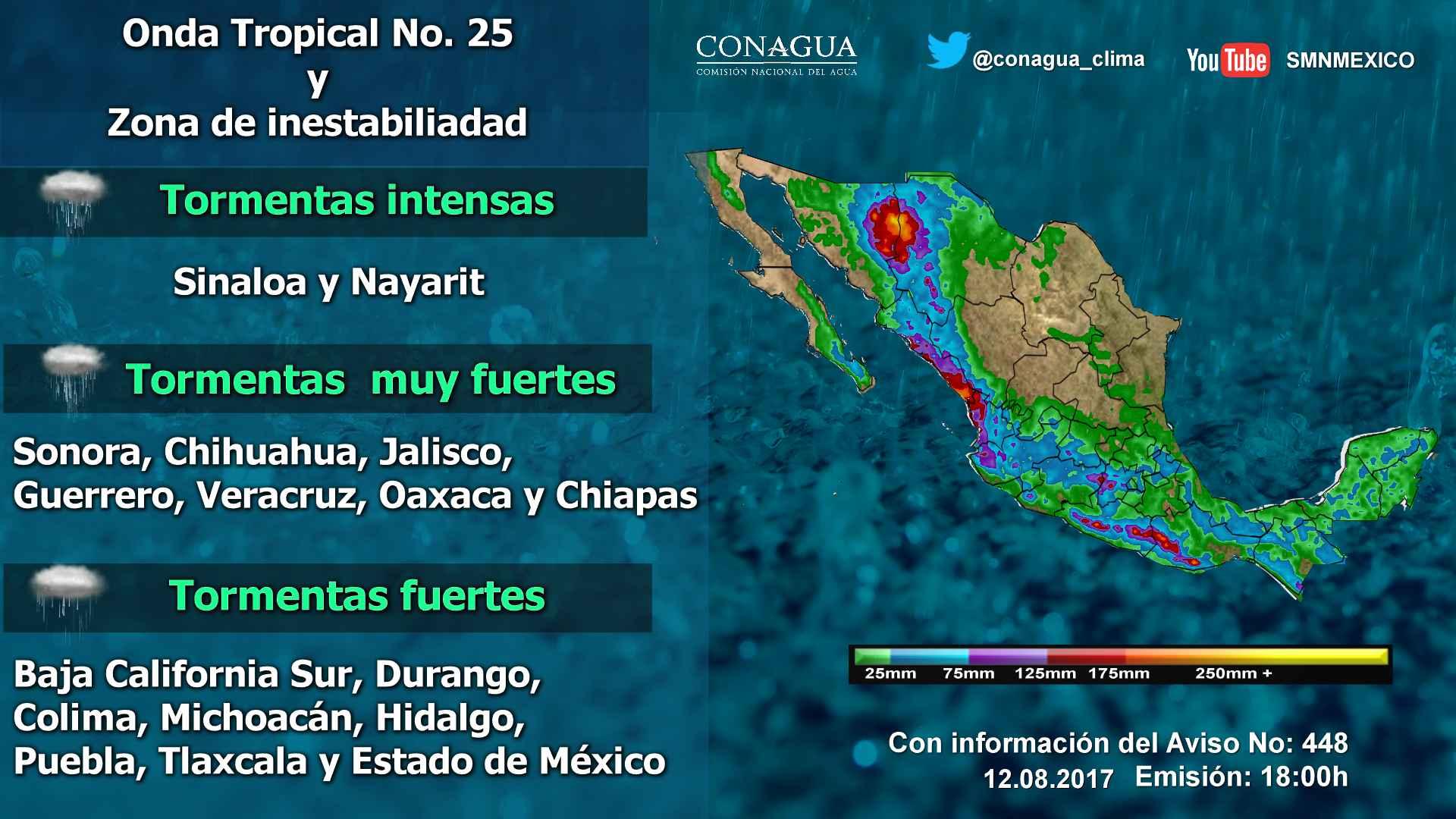 Para las próximas horas se prevén tormentas intensas en Sinaloa y Nayarit