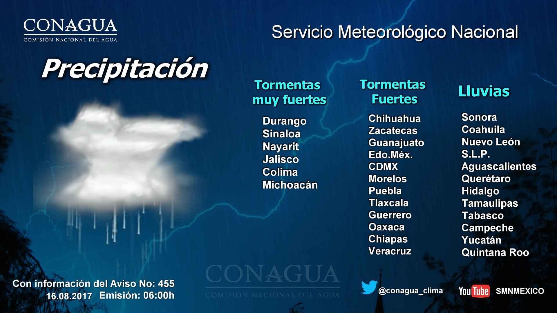 Se pronostican tormentas fuertes para Tlaxcala
