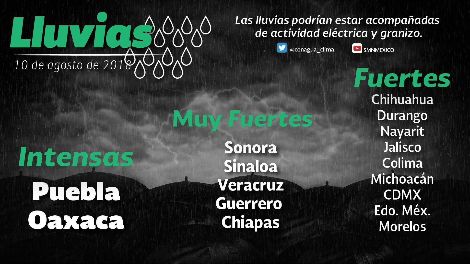 Tormentas intensas se prevén en Puebla y Oaxaca y muy fuertes en Sonora