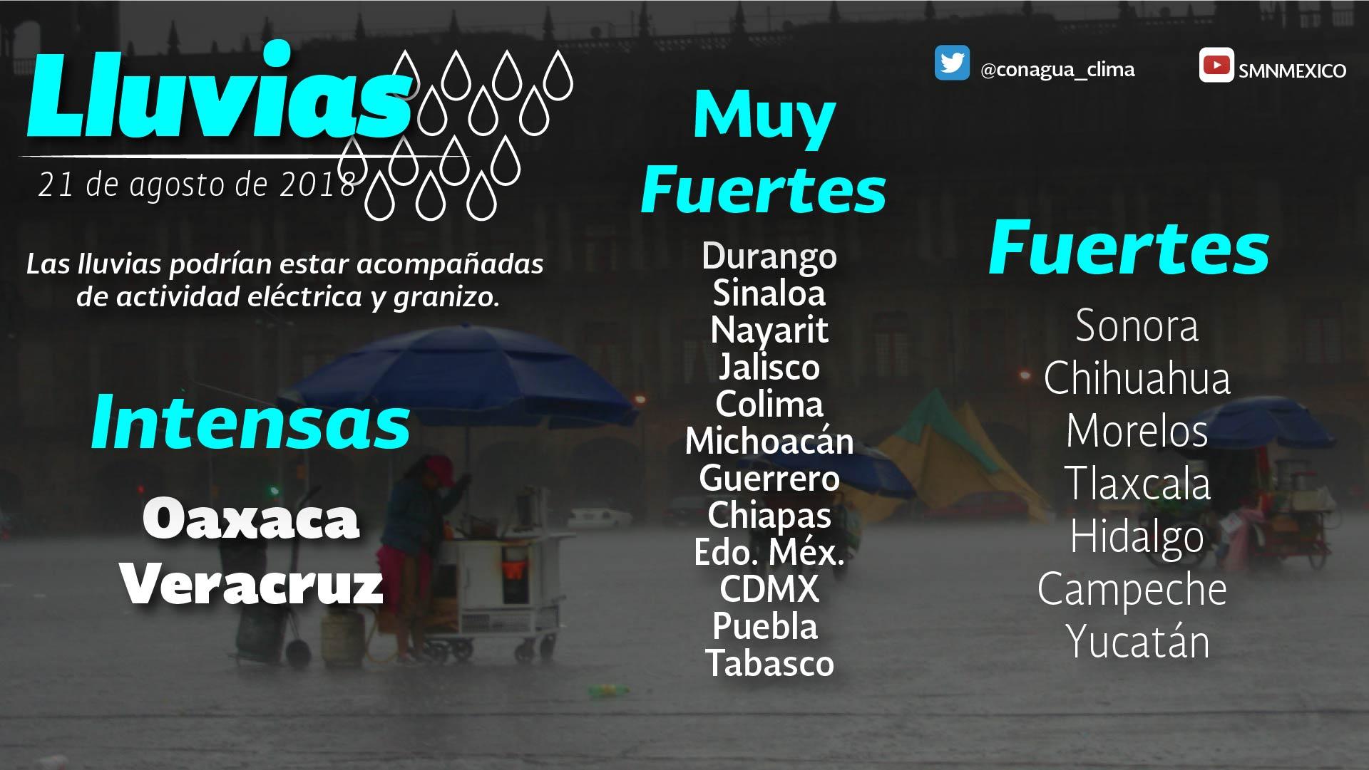 Persiste el pronóstico de chubascos con tormentas puntuales fuertes para Tlaxcala