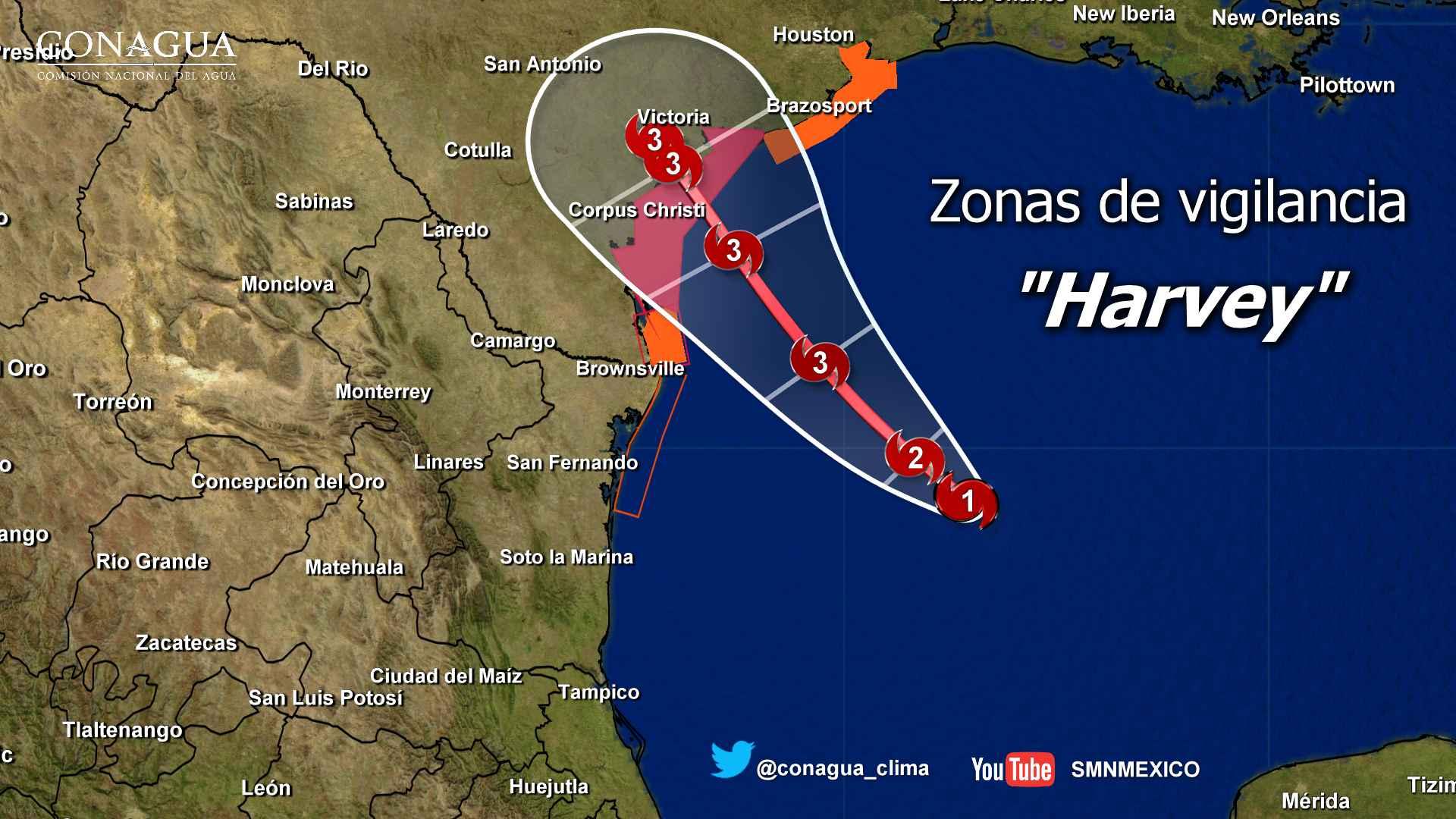 Harvey evolucionó a huracán categoría 1