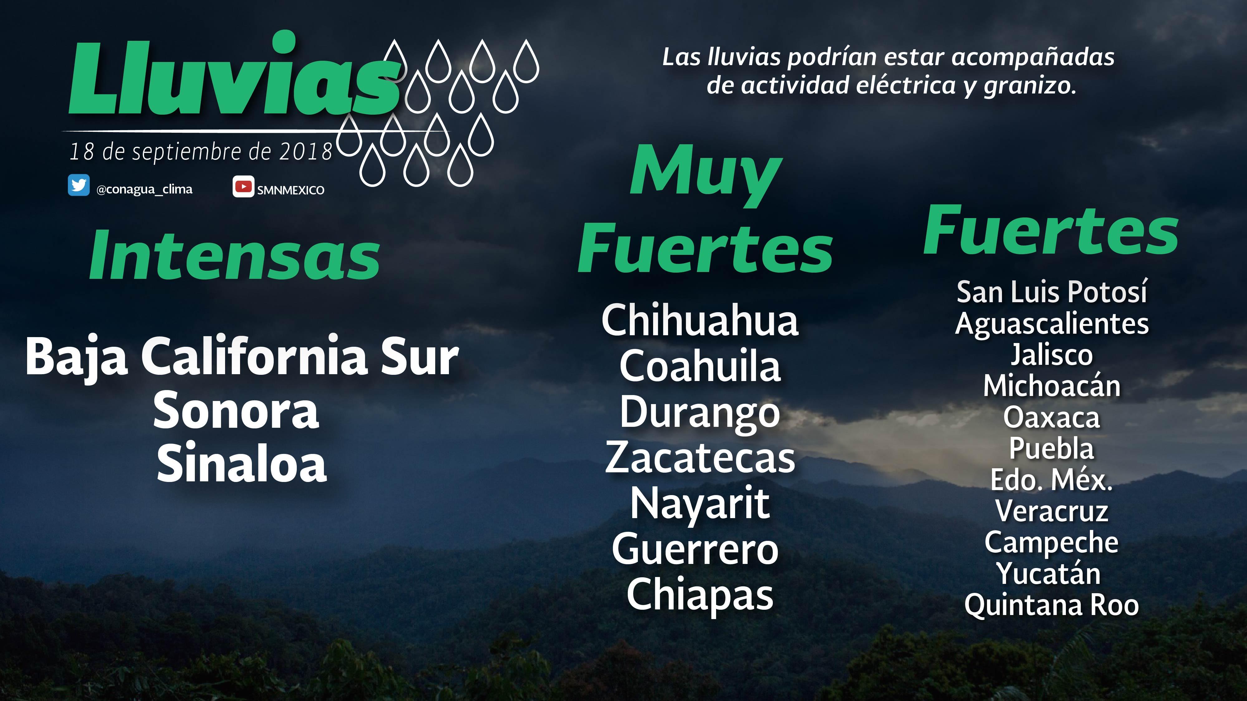 Prevén tormentas intensas en Baja California Sur, Sonora y Sinaloa