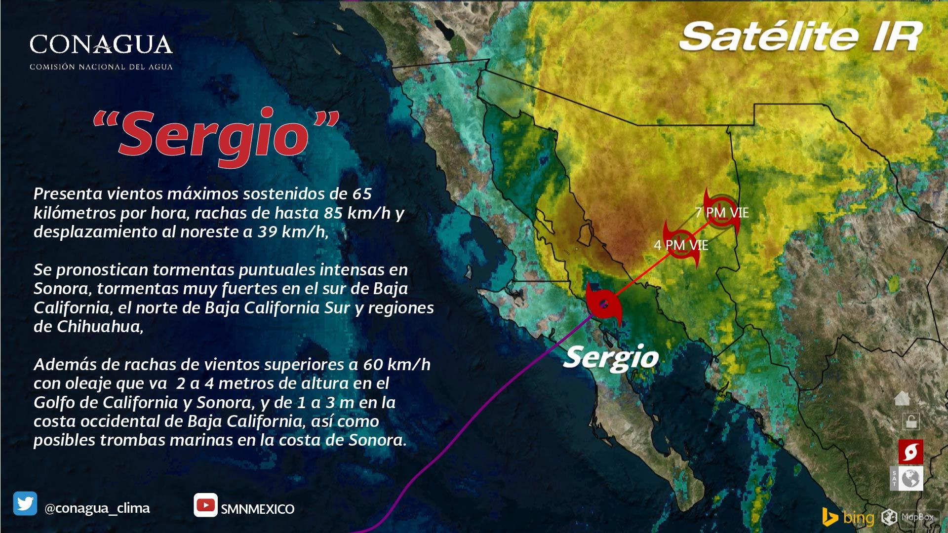 Durante el mediodía de hoy Sergio impactó por segunda ocasión, ahora en Sonora