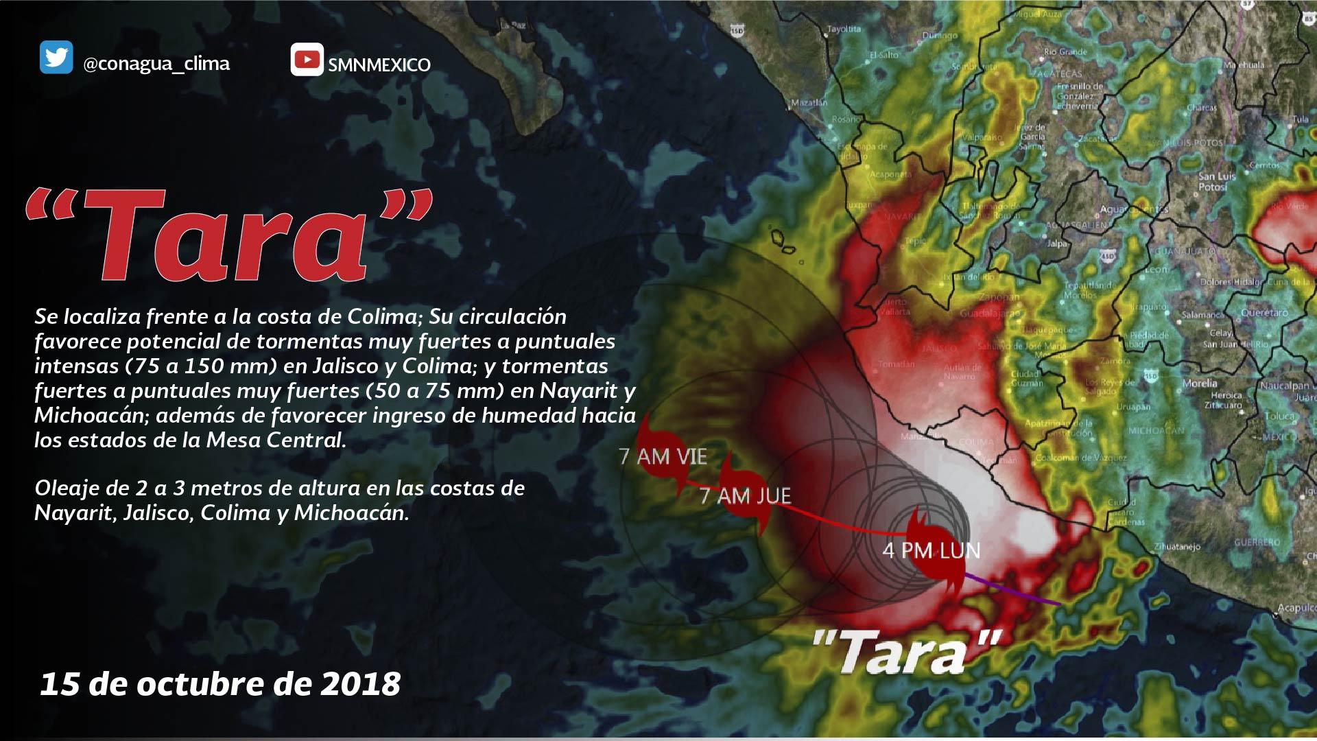 Tara se localizó a 125 km al oeste-suroeste de Punta San Telmo, Michoacán