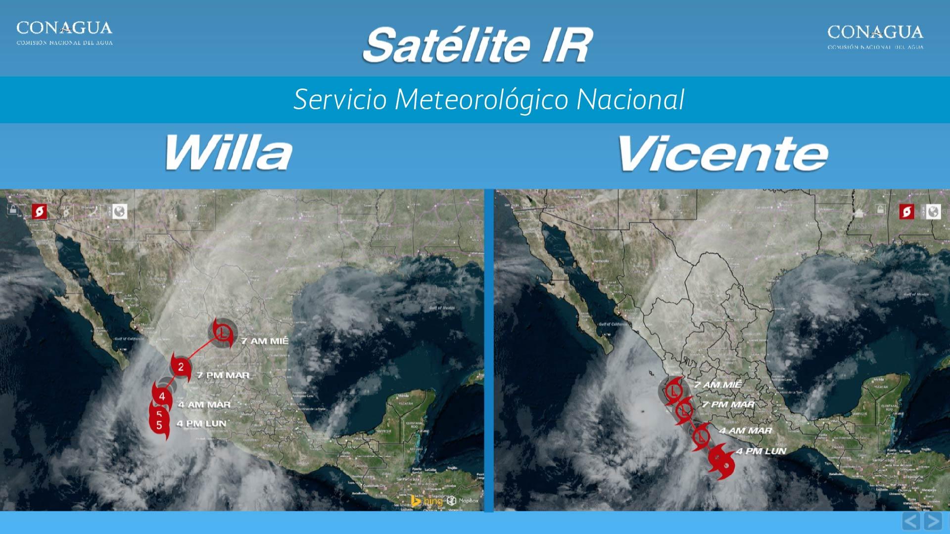 Willa se localizó a 215 km al suroeste de las costas de Jalisco como huracán categoría 5