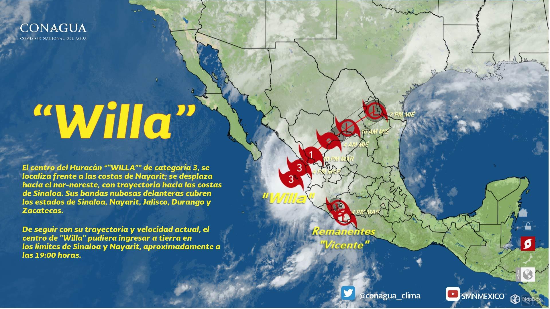 Willa se localizó a 55 kilómetros de las Islas Marías, Nayarit, como huracán categoría 3