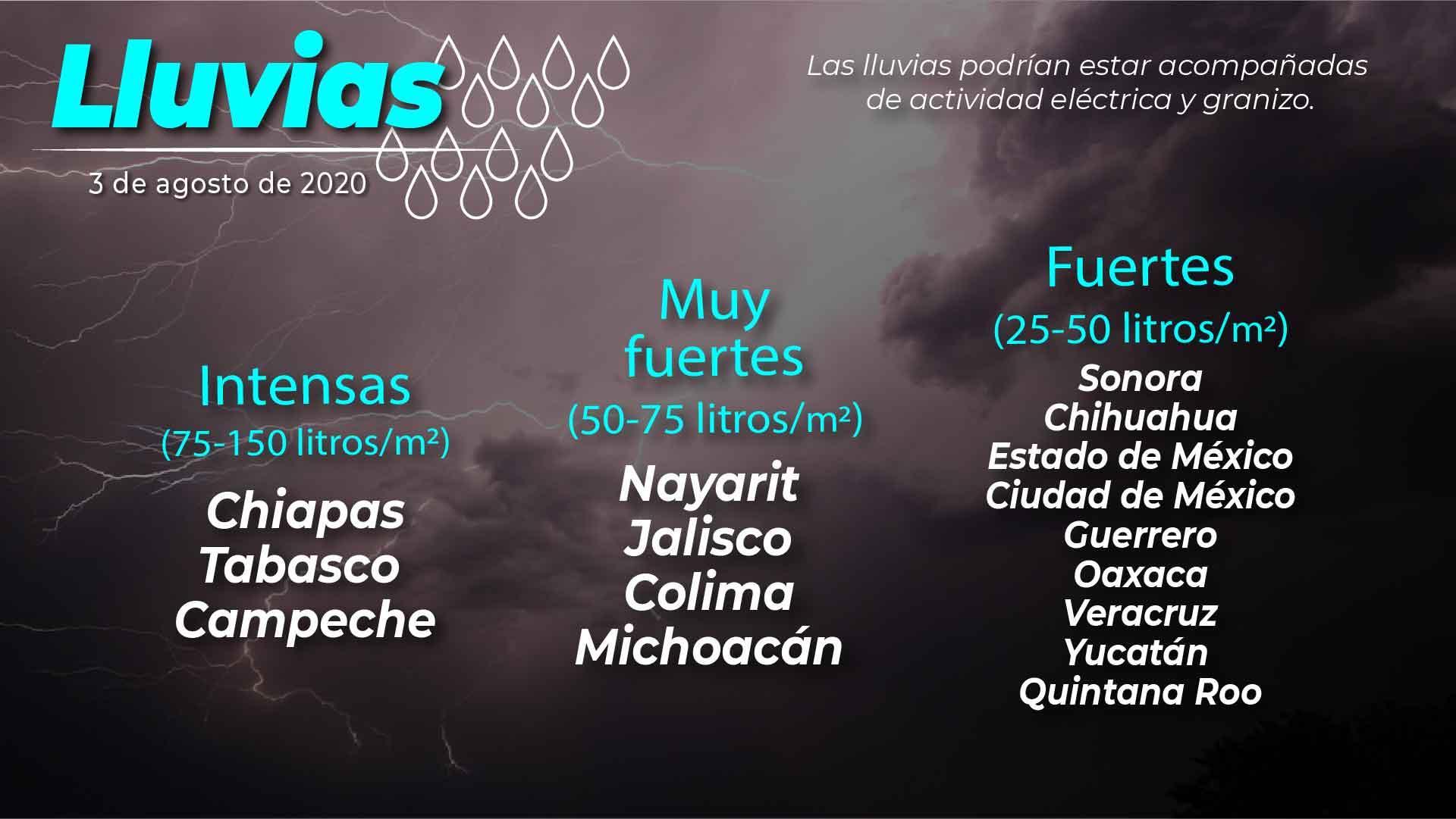 Esta noche, se pronostican lluvias intensas para Campeche, Chiapas y Tabasco