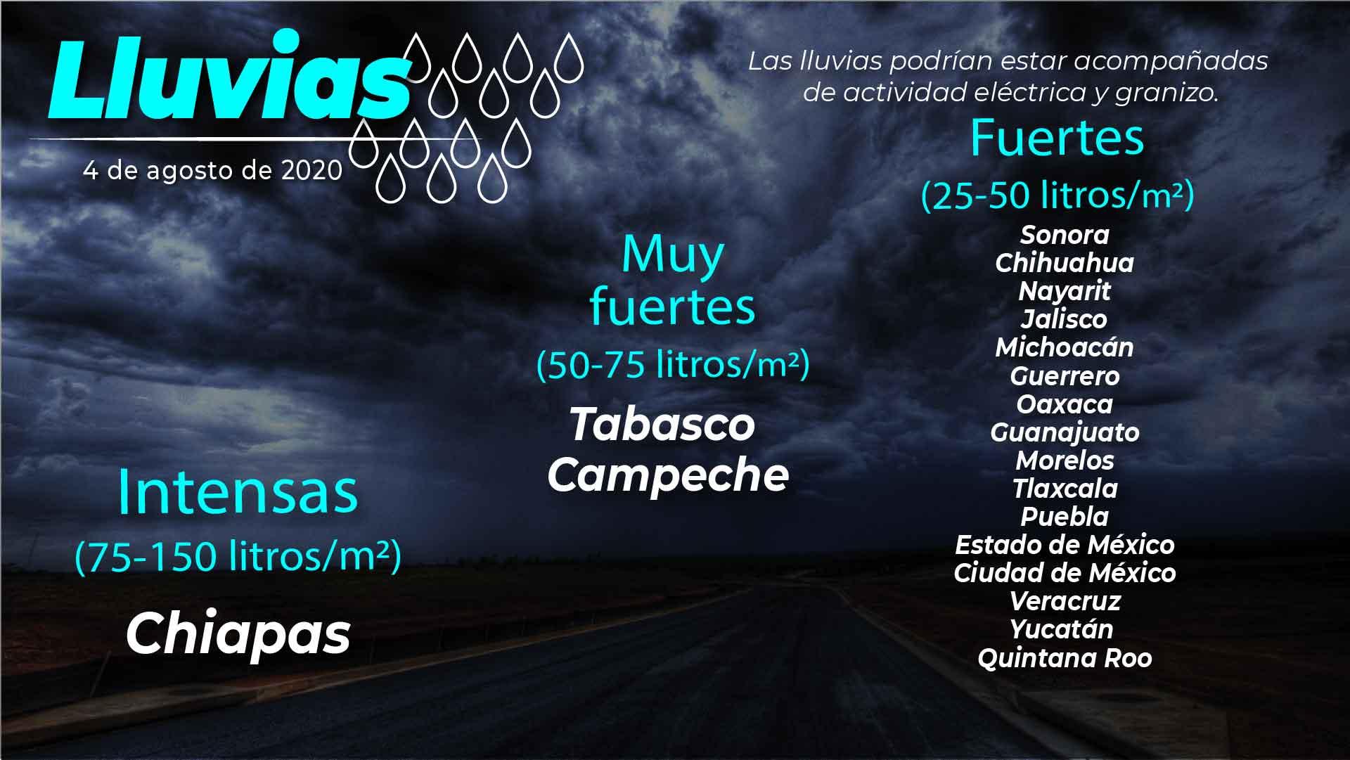 Se pronostican lluvias intensas con descargas eléctricas, granizo y viento fuerte para Chiapas