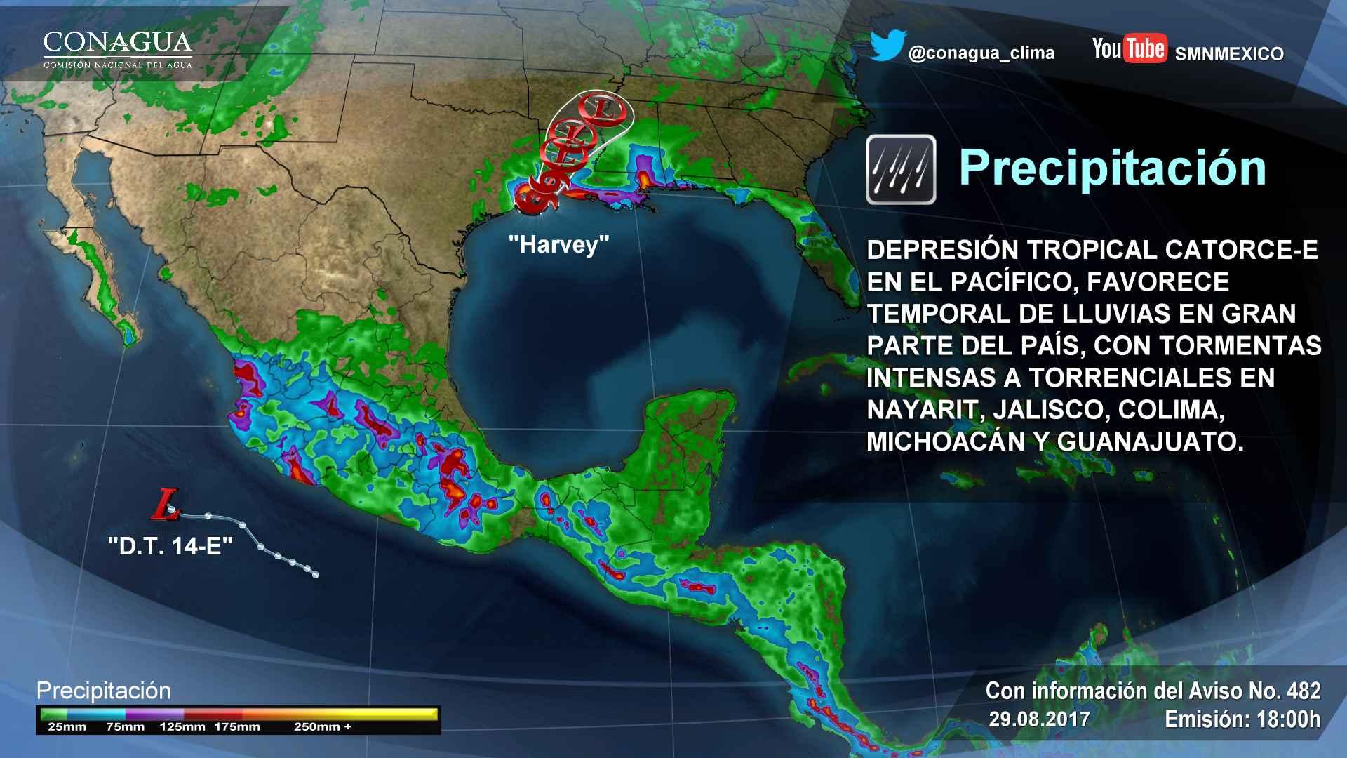 En las próximas horas se prevén tormentas torrenciales para Jalisco, Colima y Michoacán