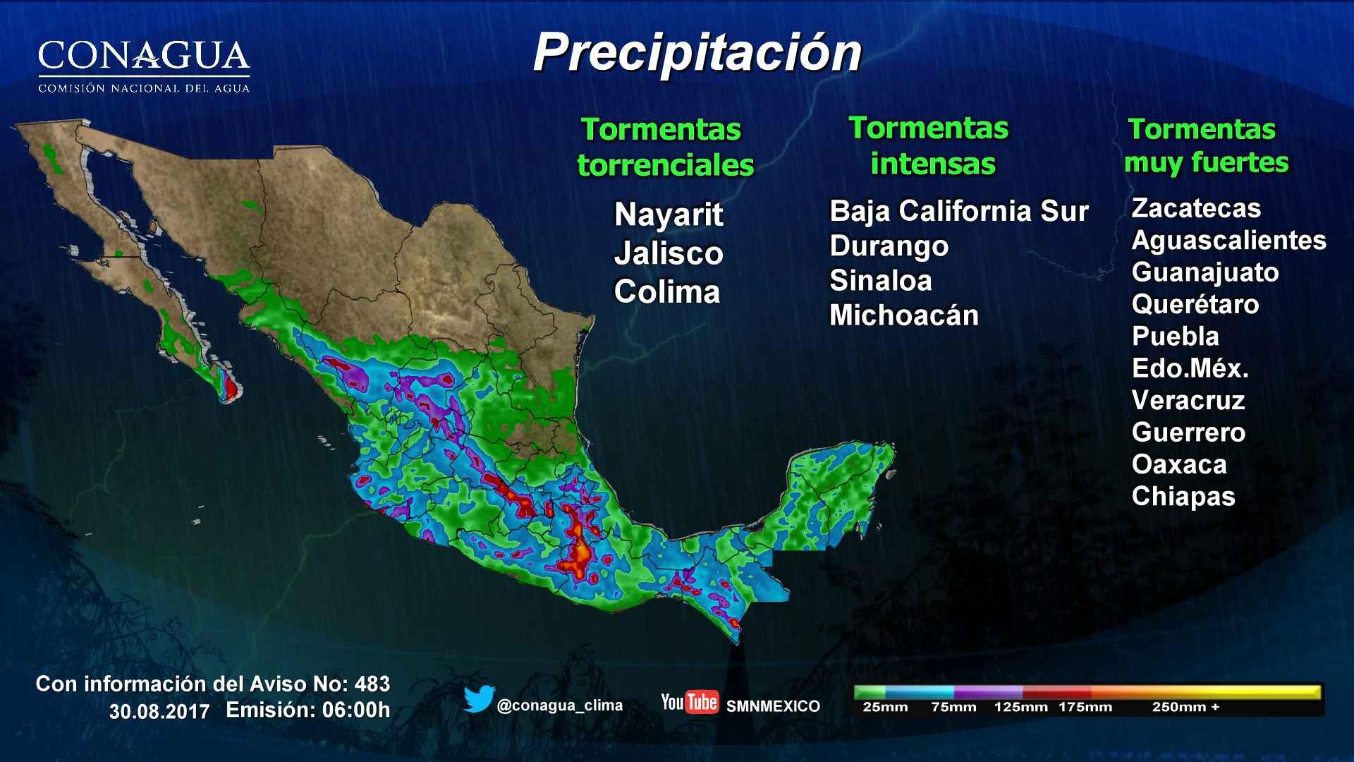 Prevalece el pronóstico de intervalos de chubascos con tormentas fuertes para Tlaxcala