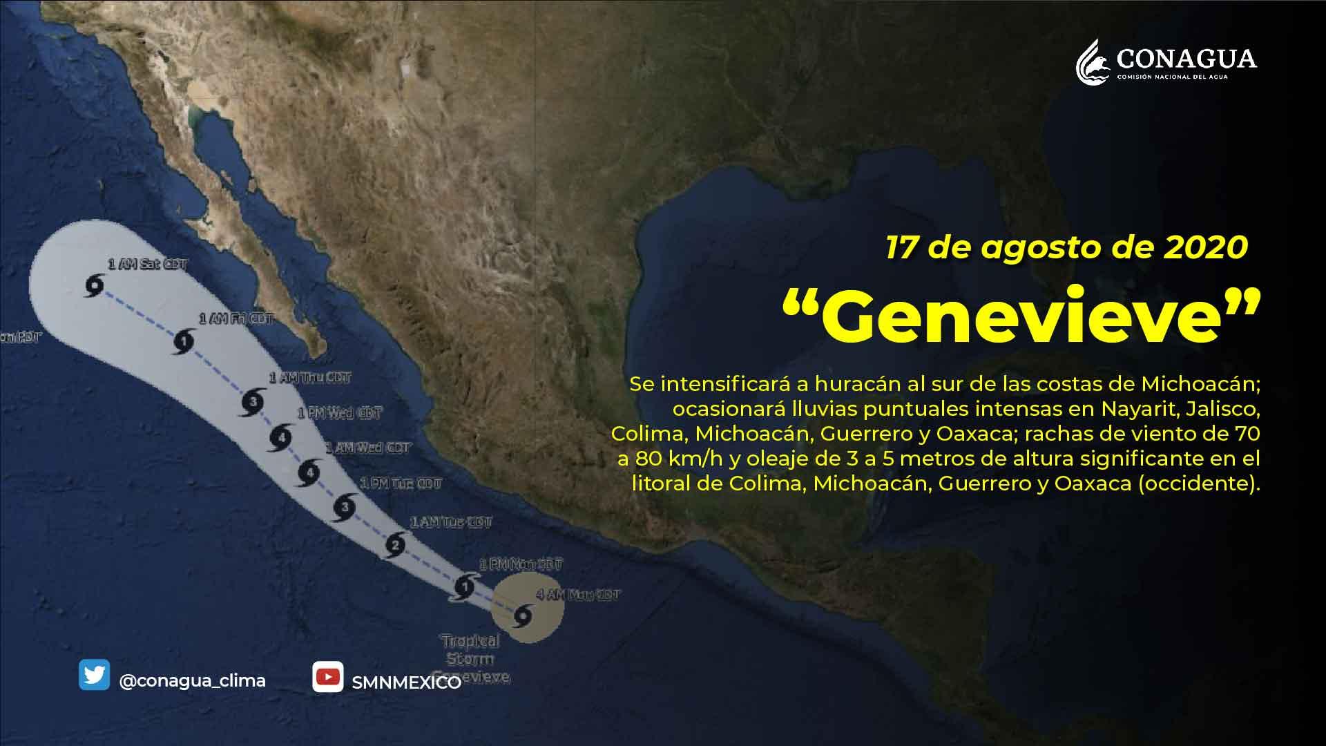 Genevieve se intensifica a Huracán categoría 1