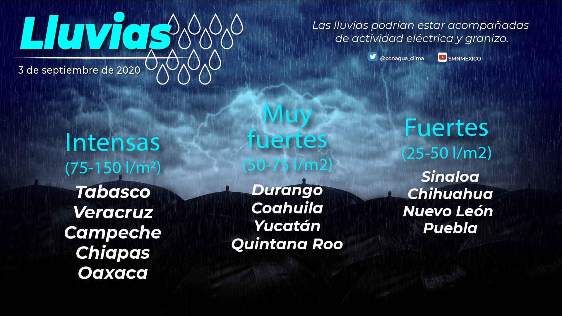 La tormenta tropical Nana ocasionará lluvias puntuales intensas en Campeche, Chiapas, Oaxaca, Tabasco y Veracruz