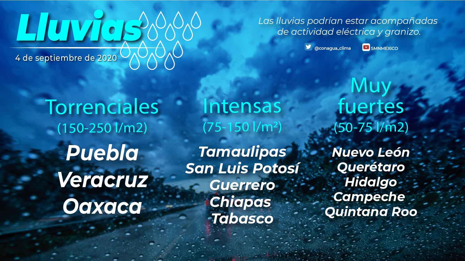 Los remanentes de Nana ocasionarán lluvias torrenciales en Oaxaca, Puebla y Veracruz