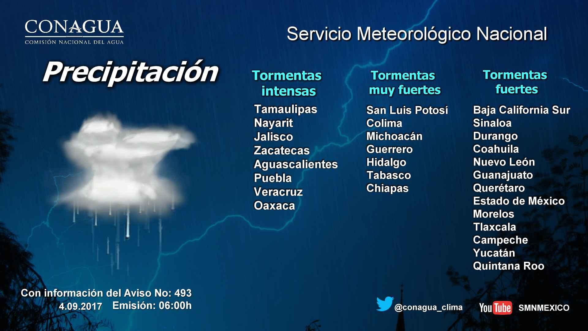 Se prevén intervalos de chubascos con tormentas fuertes para Tlaxcala