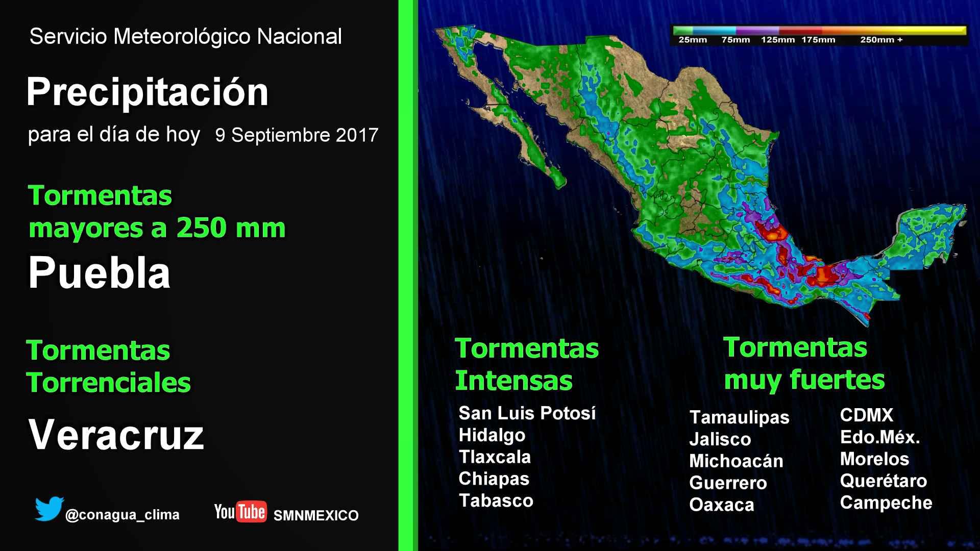 Se pronostican tormentas intensas en Puebla, Veracruz, Oaxaca, San Luis Potosí, Chiapas y Tabasco