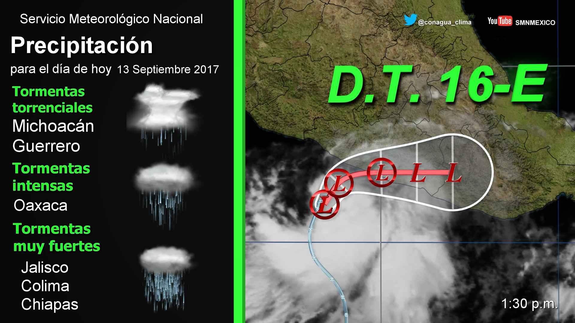 Se formó la Depresión Tropical 16-E en el Océano Pacífico