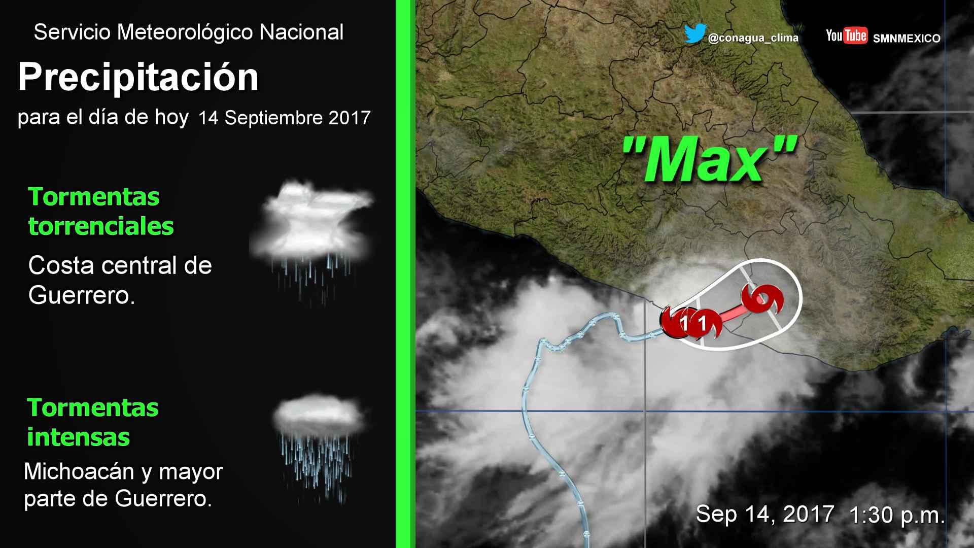 El ojo del huracán Max se localiza a 20 km de la línea de costa de San Marcos, Guerrero