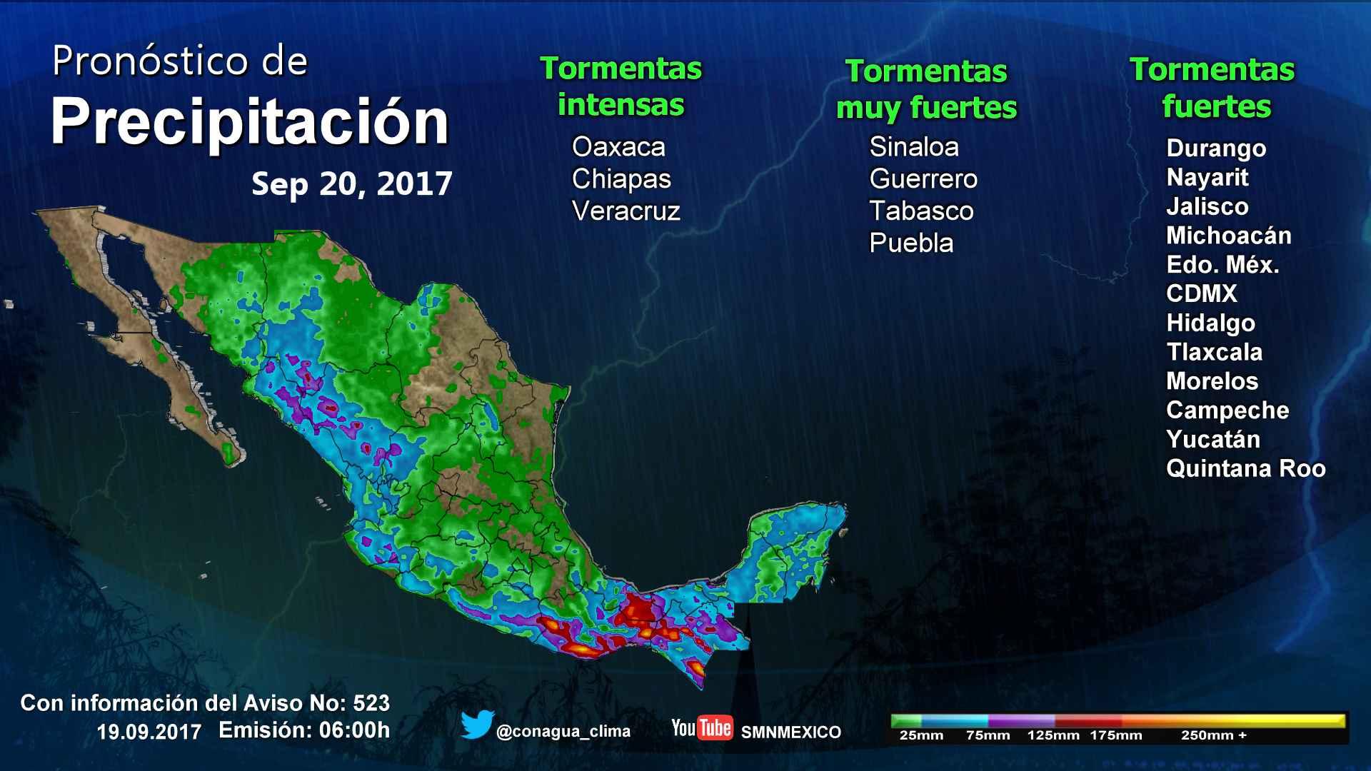 Se prevén para Tlaxcala lluvias con intervalos de chubascos y descenso de temperatura