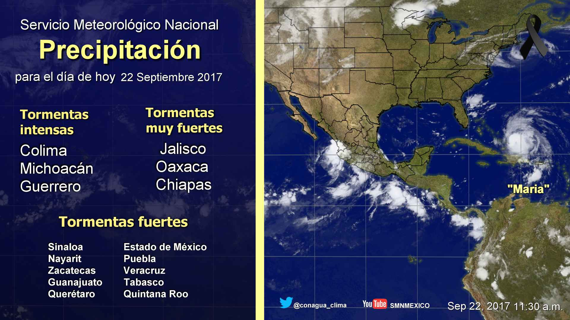 En Colima, Michoacán y Guerrero se prevén tormentas intensas