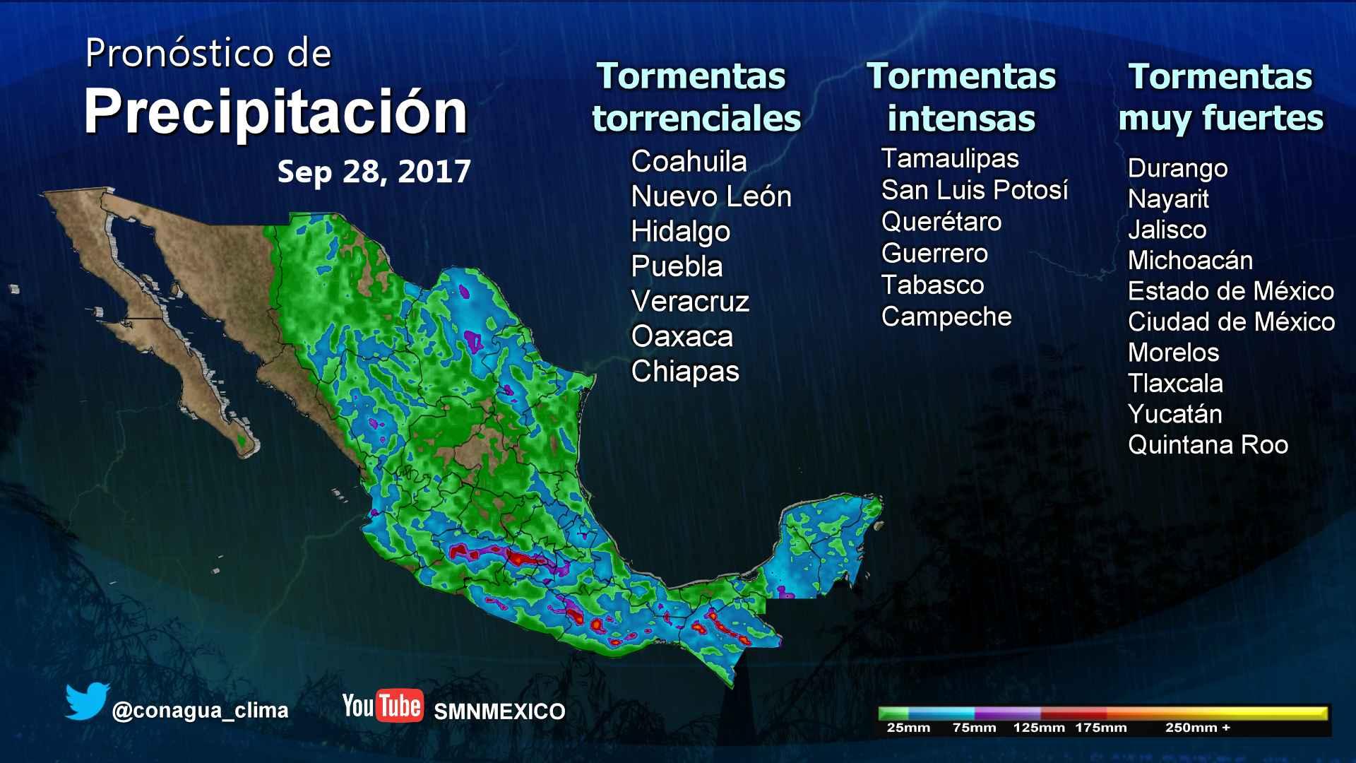 Se prevén tormentas torrenciales para regiones de Coahuila, Nuevo León, Hidalgo, Puebla, Veracruz, Oaxaca y Chiapas