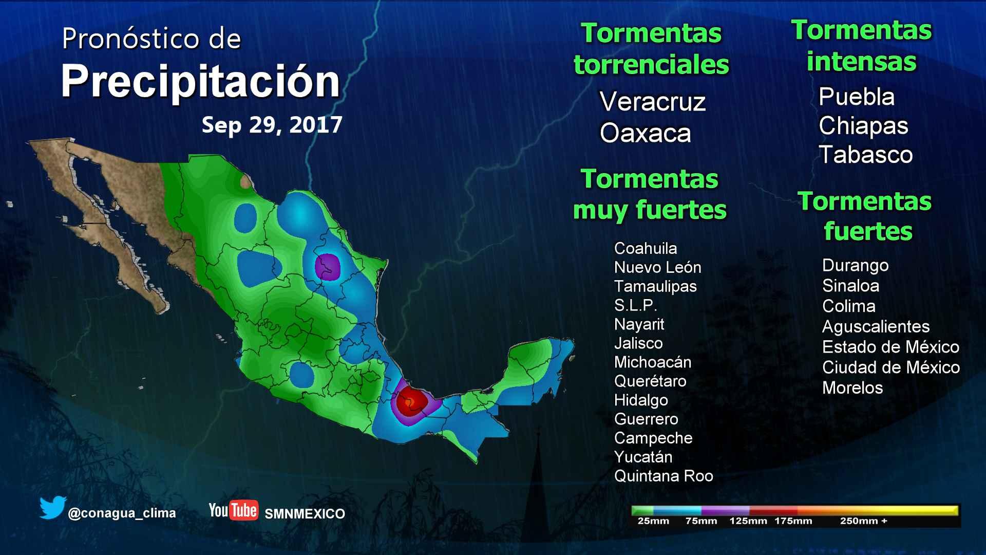 Para las próximas horas se pronostican tormentas torrenciales en Veracruz y Oaxaca