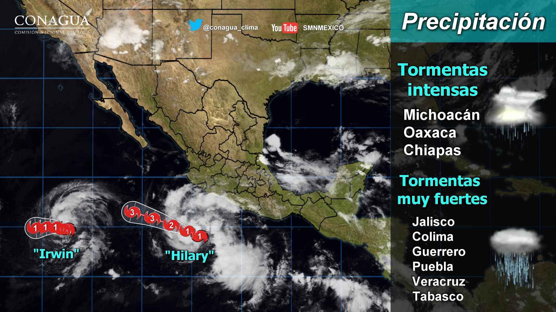 Vientos fuertes y oleaje elevado se prevén en Jalisco, Colima, Michoacán y Guerrero, debido a Hilary