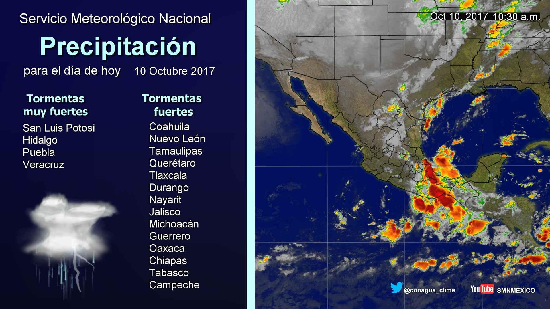 Se prevén intervalos de chuabscos con tormentas fuertes para Tlaxcala