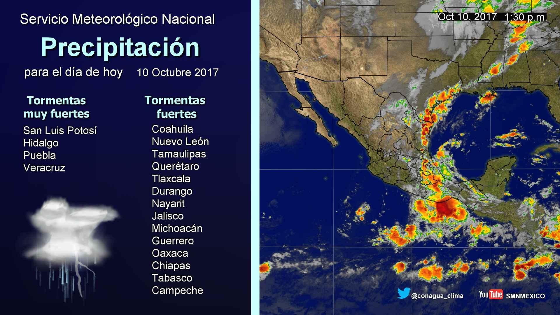 Durante las próximas horas se prevén tormentas intensas en Tamaulipas, San Luis Potosí, Hidalgo, Puebla y Veracruz