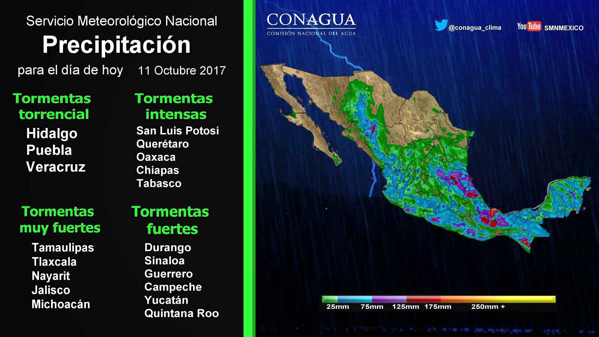 Se prevén tormentas torrenciales en áreas de Hidalgo, Puebla y Veracruz