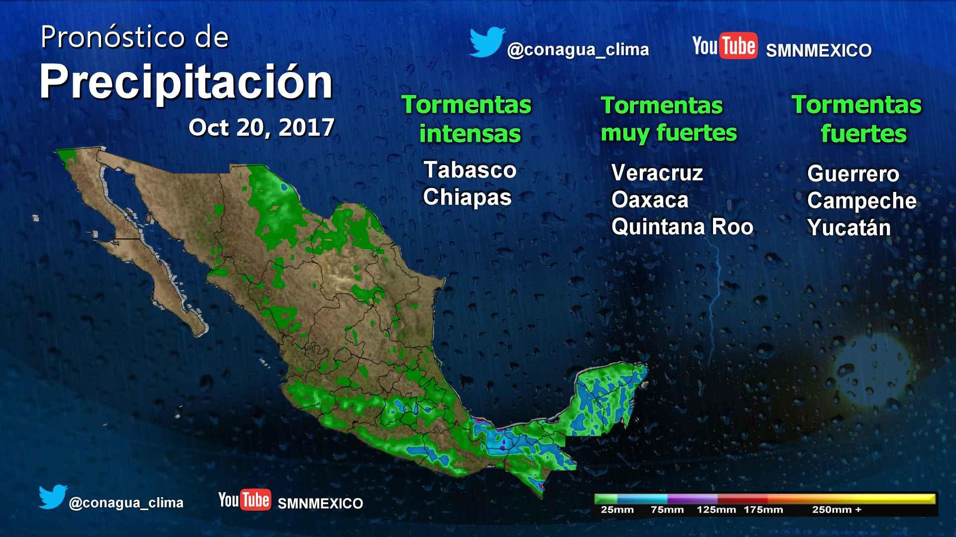 Para zonas de Veracruz, Tabasco y Chiapas se pronostican tormentas intensas