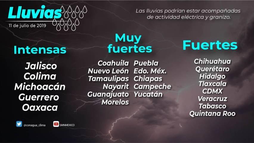 Se pronostican lluvias locales fuertes para Tlaxcala