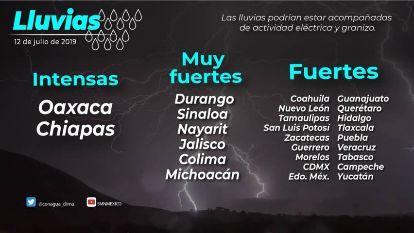 Para hoy en Tlaxcala se prevén lluvias locales fuertes