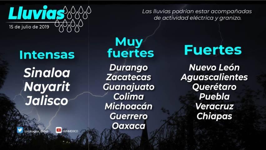 Se pronostican lluvias intensas para Sinaloa, Nayarit y Jalisco