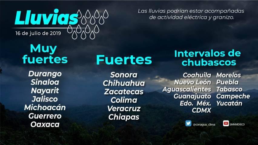 Lluvias fuertes se pronostican en Durango, Sinaloa, Nayarit, Jalisco, Michoacán, Guerrero y Oaxaca
