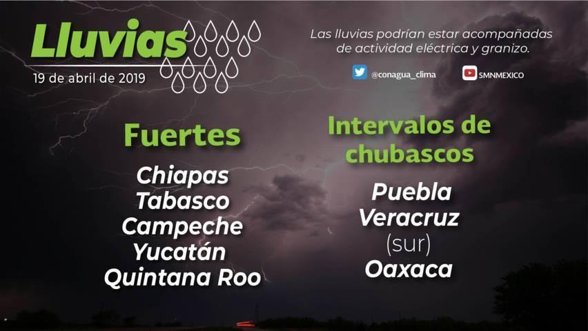 Probabilidad de tormentas fuertes y actividad eléctrica en Puebla, Veracruz, Oaxaca y Chiapas