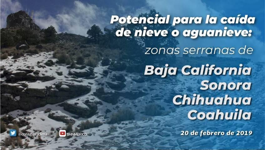 Nevadas o aguanieve se prevén en sierras de Baja California y Sonora