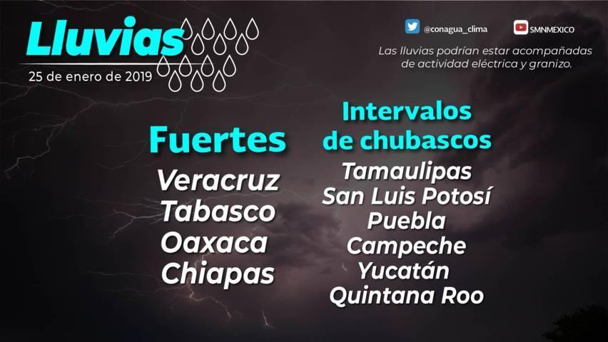 Se prevén lluvias fuertes en el oriente y el sureste de México