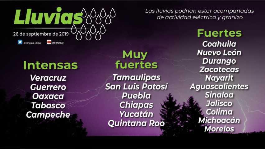 Se prevén intervalos de chubascos para Tlaxcala