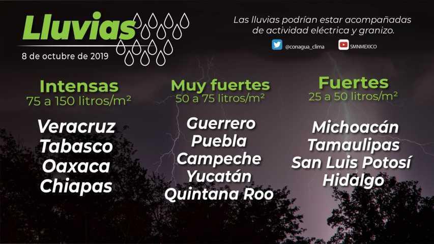 Se esperan lluvias muy fuertes para hoy martes en Tlaxcala