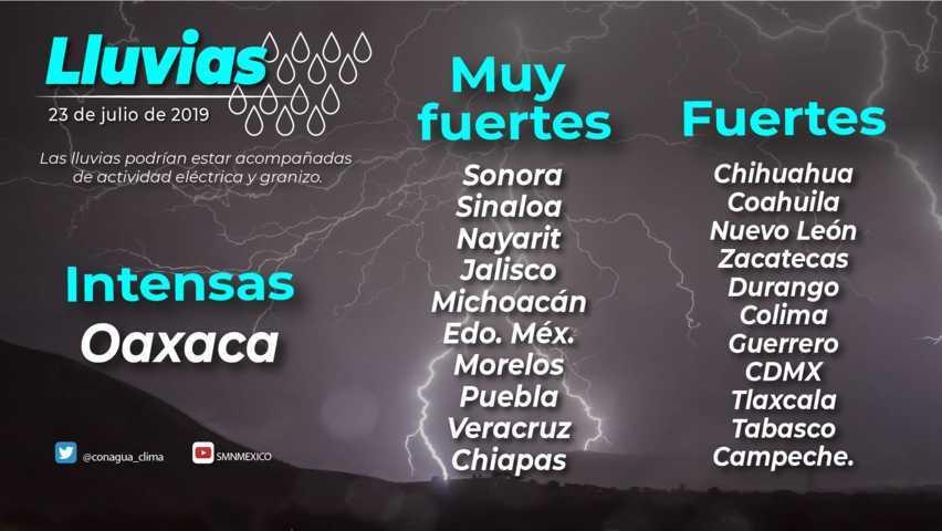 Hoy se prevén intervalos de chubascos con lluvias puntuales fuertes en Tlaxcala