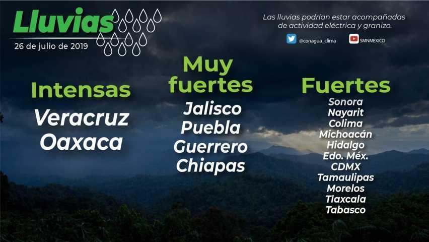 Para el día de hoy se pronostican lluvias locales fuertes en Tlaxcala